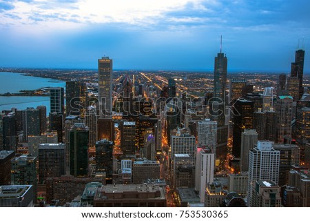 Chicago skyline aerial view at dusk, United States. Night Chicago aerial vew