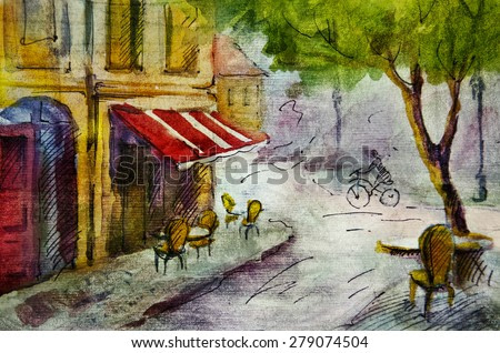 French outdoor european cafe painting, graphic drawing in color