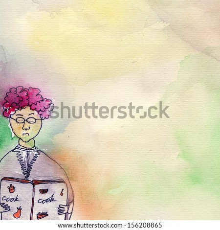 Original watercolor painting on paper of woman with cook book. Hand drawing illustration.