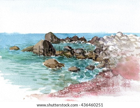rocks in the sea shore with reflection in calm water, landscape drawing in watercolor, hand painting illustration