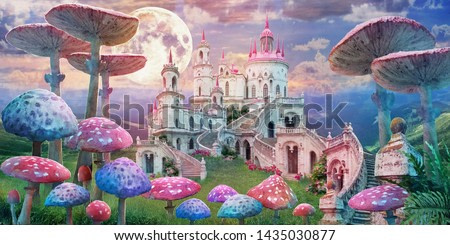 fantastic landscape with mushrooms, beautiful old castle and moon. illustration to the fairy tale