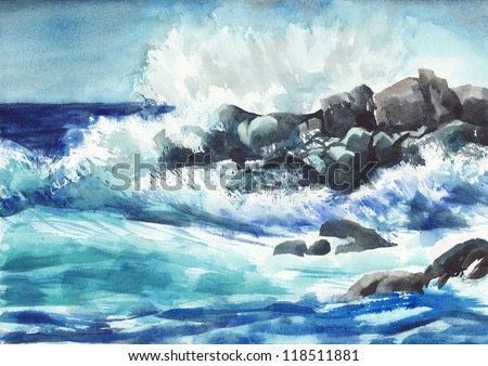 Watercolor painting of the blue storming sea