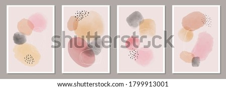 Trendy set of abstract creative minimalist watercolor artistic hand painted composition ideal for wall decoration, for social media background or brochure design, vector illustration