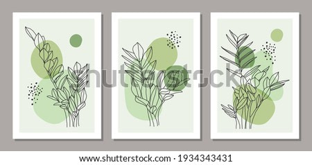 Set of trendy minimalist botanical vector illustration as abstract line art composition with leaves, ideal for art gallery, modern wall art poster, minimal interior design