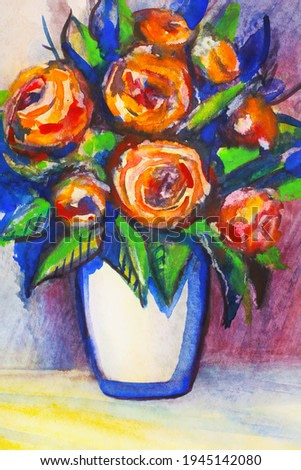 Bouquet of orange roses in a white vase watercolor painting. Bright blue shadows on the table. Matisse style fauvism