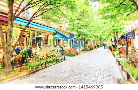 Paris in the spring watercolour oil-paint filter. Bohemian Les Marais 4th district with poeple relaxing at cafes on a tree-lined boulevard. Monet style