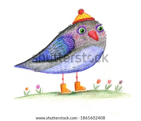 watercolor illustration a bird in a hat