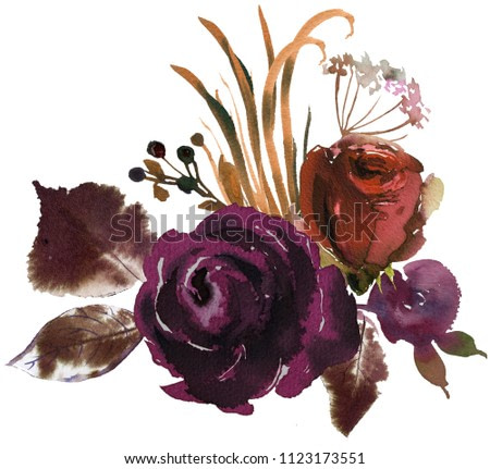 Watercolor Fall Floral Corner Bouquet Roses Peonies Leaves Boho Plum Violet Ivory Brown Isolated On White Background