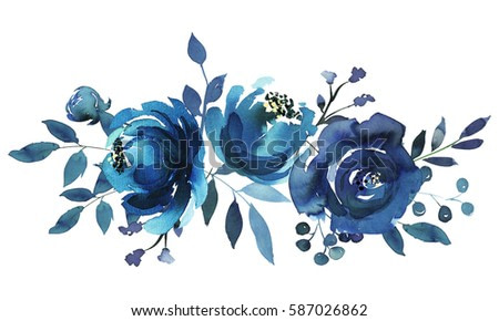 Indigo blue turquoise watercolor hand painted floral bouquet.