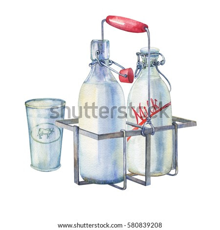 Vintage farmhouse kitchen metal holder rack with bottles of milk and glass of milk. Hand drawn watercolor painting on white background.