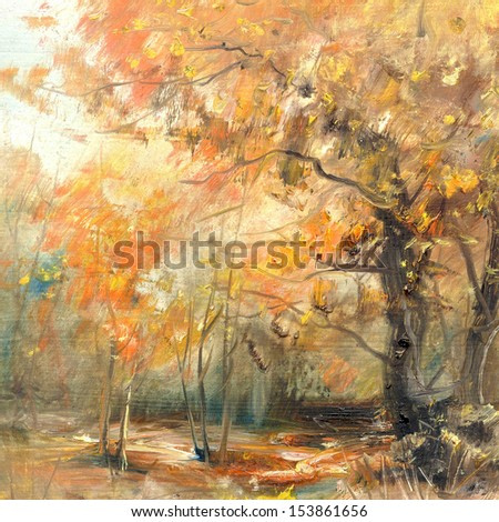 Autumn colors, background, oil painting