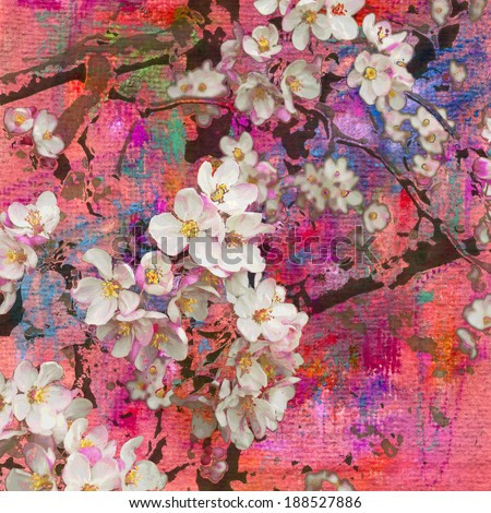 Blossoming apple tree, painting and mixed media art background