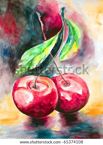 Pair bright ripe cherries on one branch with leaves drawn by water color colors on a water color paper