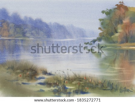 Morning mist by the lake in autumn watercolor background. Autumn illustration