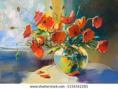 Still life. Scarlet poppies in a vase on the table. Painting: oil, canvas.