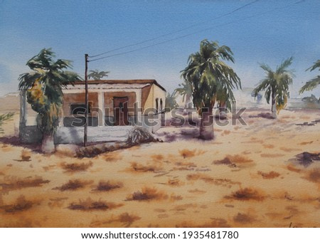 Sunny watercolor landscape of an old house surrounded by palm trees in the desert in the Northern Egypt