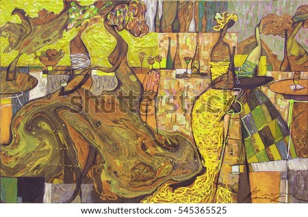 looking for partnerships with artdillers - contact facebook, author Roman Nogin, ,  ladies in the restaurant, woman figure abstract. desktop background