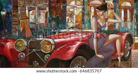 Lights of a big city, evening rendezvous, looking for partnerships with artdillers,  oil painting artist Roman Nogin,sale original - contact facebook