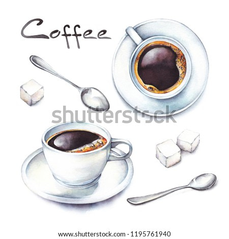 Isolated watercolor illustration coffee in a white porcelain cups with sugars and teaspoons. Watercolor food collection