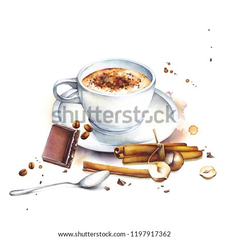 Watercolor coffee cup with saucer, piece of chocolate, nuts, cinnamon sticks, hand drawn drink illustration, isolated on white background