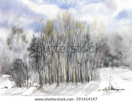 abstract forest landscape watercolor painting background