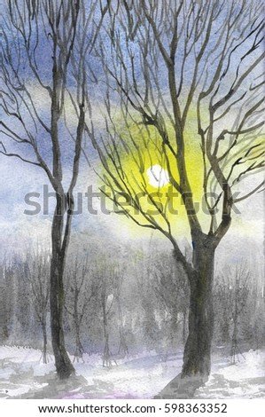 the sun through the trees watercolor painting background