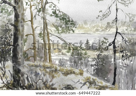 Landscape from the cliff to the forest distance with a lodge by the lake watercolor painting background