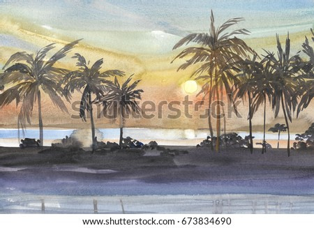 Abstract seascape bay with palm trees on the shore, the sun sets in the water and reflects the path of highlights on the water watercolor background