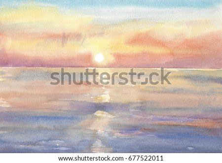 bright sun reflected in the water watercolor painting background