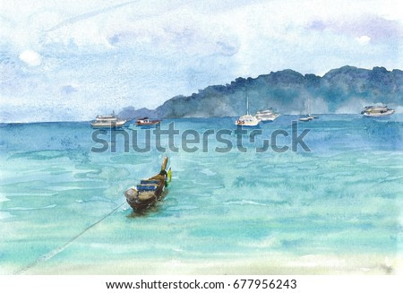 Handmade watercolor turquoise tropical sea bay with boats, boats and boats at anchor painting background