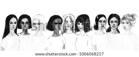 Painting women portrait. Hand drawn asian, african, european, indian, arabian faces. Watercolor fashion and feminist illustration