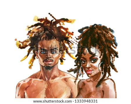 Hand drawn african woman and man. Painting fashion illustration. Watercolor portrait of beautiful couple on white background