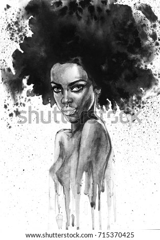 Painting fashion african woman portrait with splashes. Watercolor monochrome beauty illustration. Hand drawn young girl