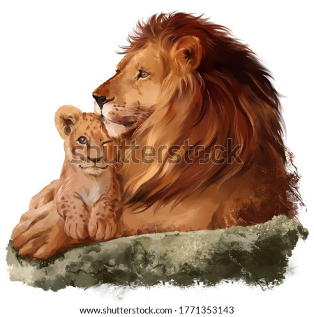 Dad lion and a little lion cub. Watercolor drawing