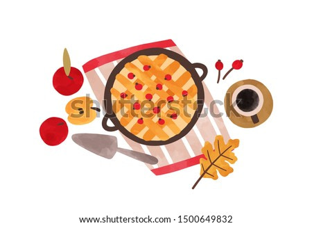 Autumn food hand drawn vector illustration. Traditional thanksgiving meal top view. Homemade baking watercolor painting. Apple pie with cranberries and coffee cup isolated on white background.