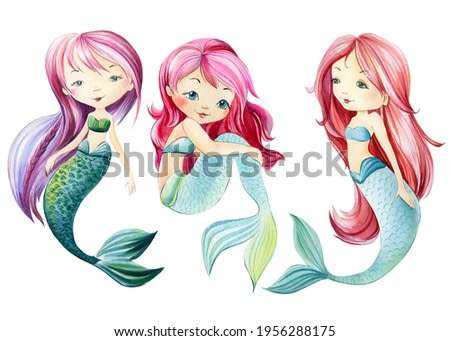 Mermaid on an isolated white background. Watercolor drawing