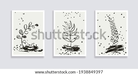 Trendy set of floral pattern background with leaves and abstract forms. Abstract geometric texture. Plant art design for social media, blog post, print, cover, wallpaper.