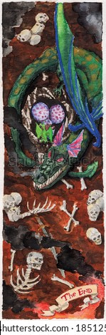 Drawing of dragon next to the cub lying on ground full of human bones and tag where is written The End. Watercolor painting.