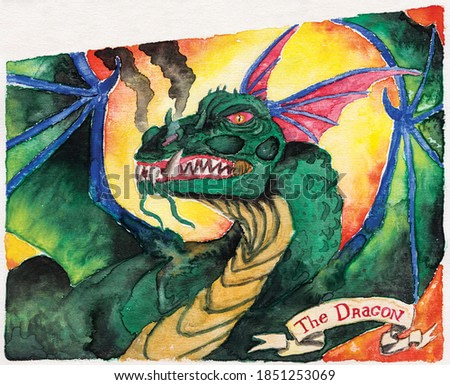 Drawing of a powerful dragon with smoke coming out of its nostrils and a tag where is written The Dragon. Watercolor painting.