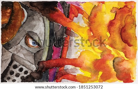 Drawing of knight wearing a helmet and defending himself from fire with a shield. Watercolor painting.
