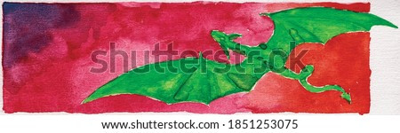 Drawing of a little green dragon flying over reddish landscape. Watercolor painting.