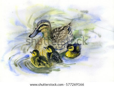 watercolor painting of ducks and ducklings in a pond