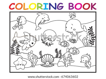 Kid coloring page cute cartoon in the sea world