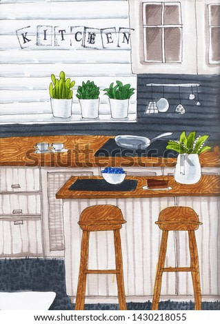Kitchen with tables, flowers and windows. Watercolor and  Marker art.  Interioir art