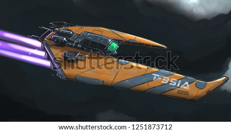 Concept art digital painting or illustration of movie or computer game style sci-fi or science fiction spaceship in space.
