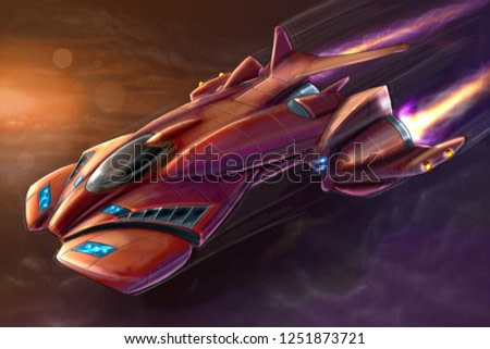 Concept art digital painting or illustration of movie or computer game style sci-fi or science fiction spaceship or aircraft.