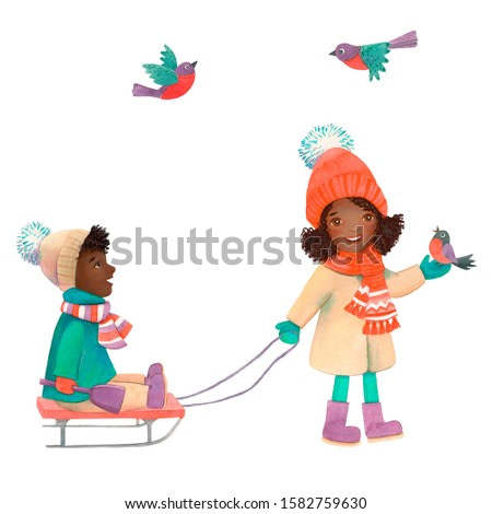 Watercolor black skin little girls  and funny black skin baby boy on the sledge isoleted on white background. Winter outside kid's playing. Merry Christmas and Happy New Year.