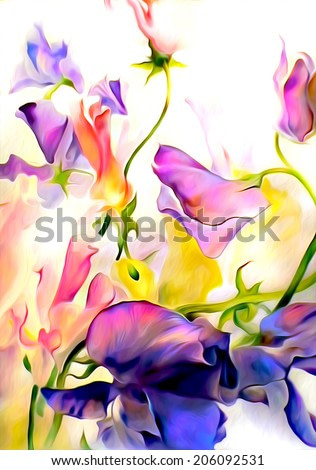 Colorful fantastic flowers. Watercolor on paper with digital texture.
