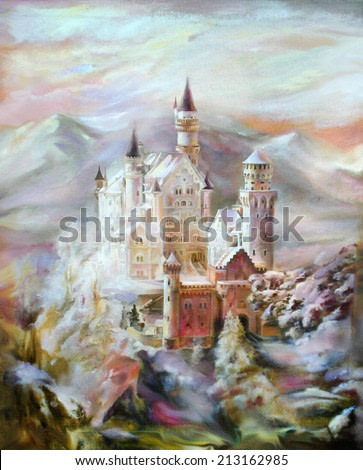 Oil painting on canvas - fantastic mysterious castle in the mountains against a beautiful sky and mountains. Hand draw picture on the texture background.