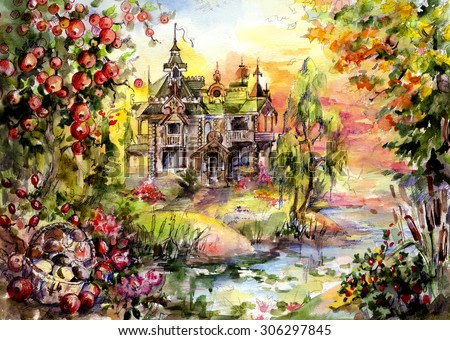 Mystery House in the woods, surrounded by trees and water - the best place for vacation or life fairy-tale characters. And humans. Hand illustration - watercolor and graphics on paper.